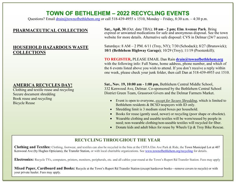 Recycling Events Bethlehem Ny Official Website