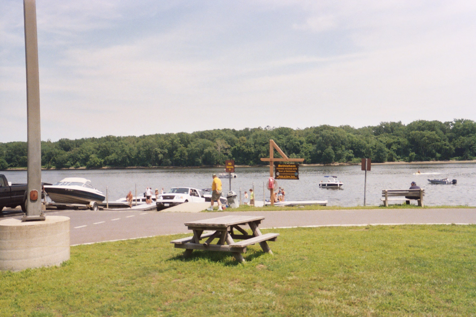 Boat launch and picnic table on the Hudson River